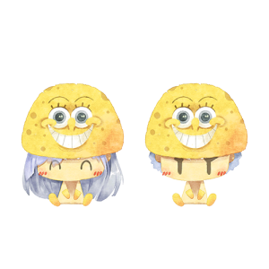 การ์ตูนคู่ใส่หมวก spongebob